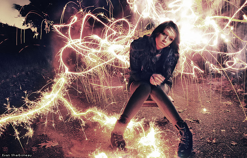 Creating a fiery sparks special effect trick phtoograph